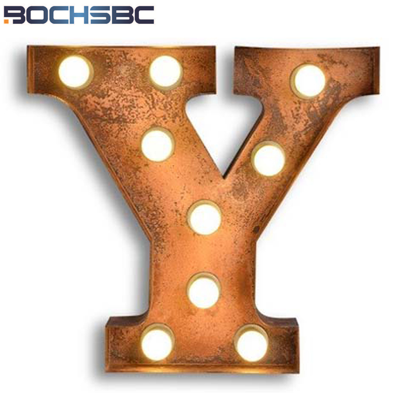 BOCHSBC Art Deco Lamp Letter Y Wall Lights Vintage Alphabet Light for Dinning Room Bedroom Living Room Wall Sconce Led Lamps E27