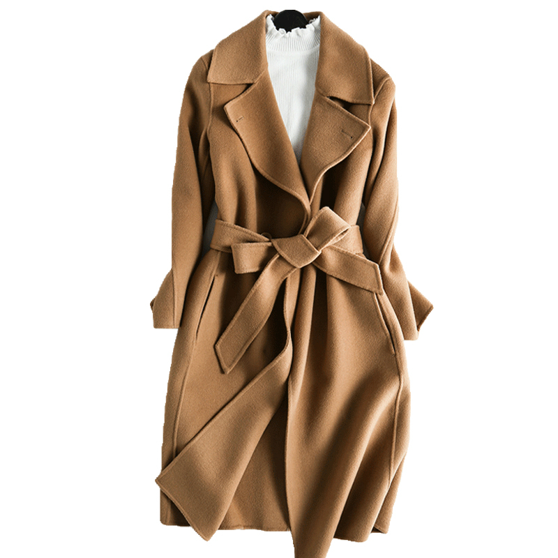wsfs Women's Sheep Wool Coats Camel Wine Red Warm Winter Belt Elegant Trench Long woolen overcoat 2017 Jaqueta Feminina Inverno