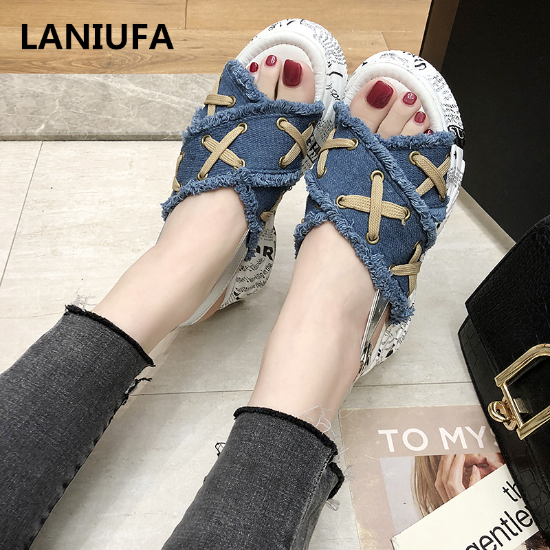 Summer flats Sandals Women shoes Breathable Comfort Ladies Walking Shoes Women Sandals Denim Platform Casual Sandals mujer &46Summer flats Sandals Women shoes Breathable Comfort Ladies Walking Shoes Women Sandals Denim Platform Casual Sandals mujer &46