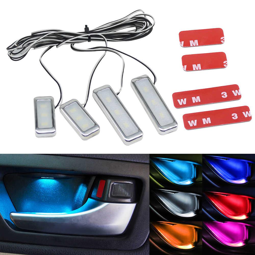Blue Car Door Bowl Handle LED Ambient Atmosphere Light Interior Universal 12V