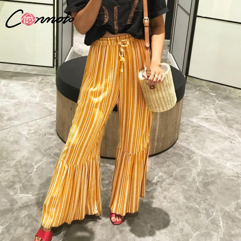 Conmoto Fashion Stripe High Waist Long   Pants   Trousers Women 2019 Summer Casual Wide Leg Flare   Pants   Female Beach Holiday   Capris