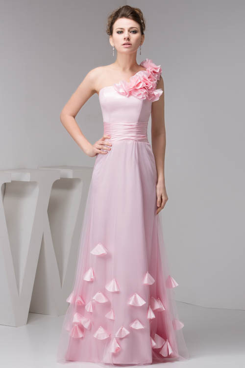 Babyonlinedress One Sholud Flower   Bridesmaid     Dresses   Sexy Open Back Pink Chiffon   Dress   with Appliques for Wedding Party