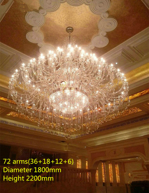 55-72 lights modern led candle holders crystal lamps large Crystal chandelier for church hotel lamp long led lustres de cristal