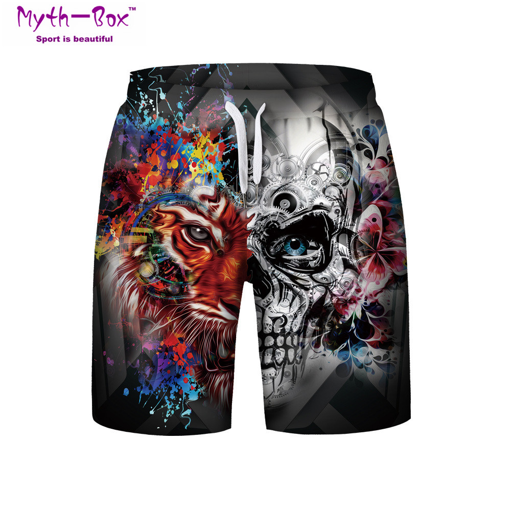 Summer Man's Beach   Shorts   Plage Sport Pants Skull Lion Printed Loose Running   Shorts   S-3XL Surfing   Short   Male Surf   Board   Swimwear