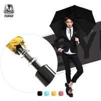 FGHGF High Quality Creative Switch Big Semi Automatic long Handle Golf Umbrella Strong Windproof Outdoor Men Women Girl Lady