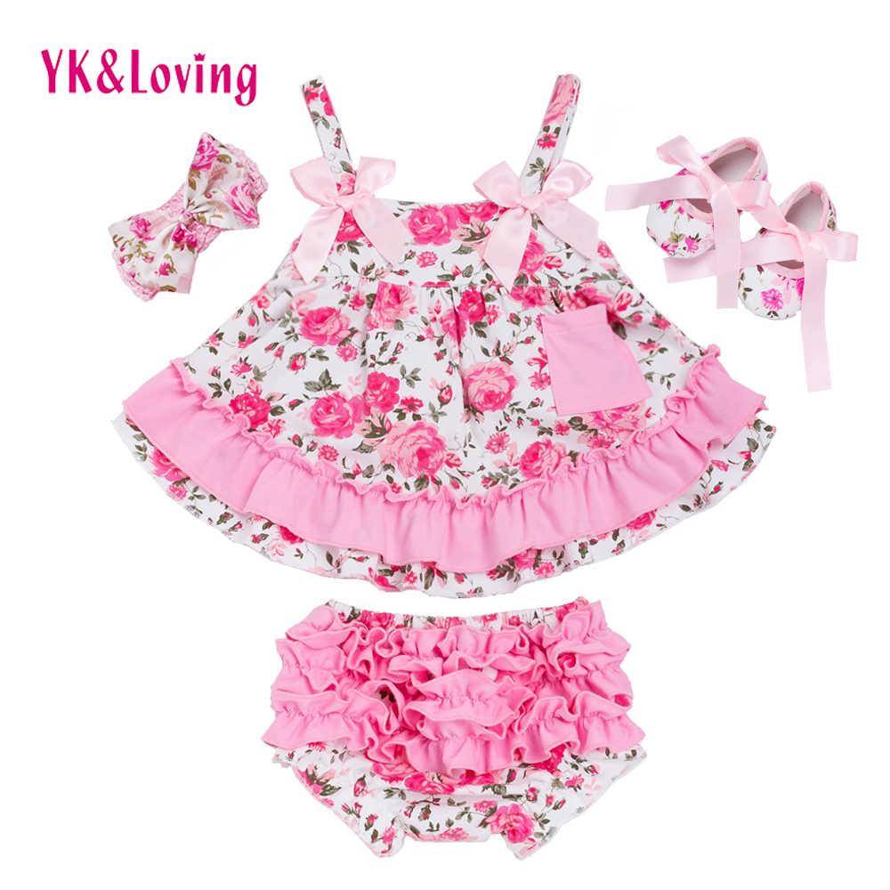 Летний стильный детский топ с розами, комплект одежды для маленьких девочек, одежда с оборками для младенцев, шаровары, повязка на голову, комплекты одежды для новорожденных девочек