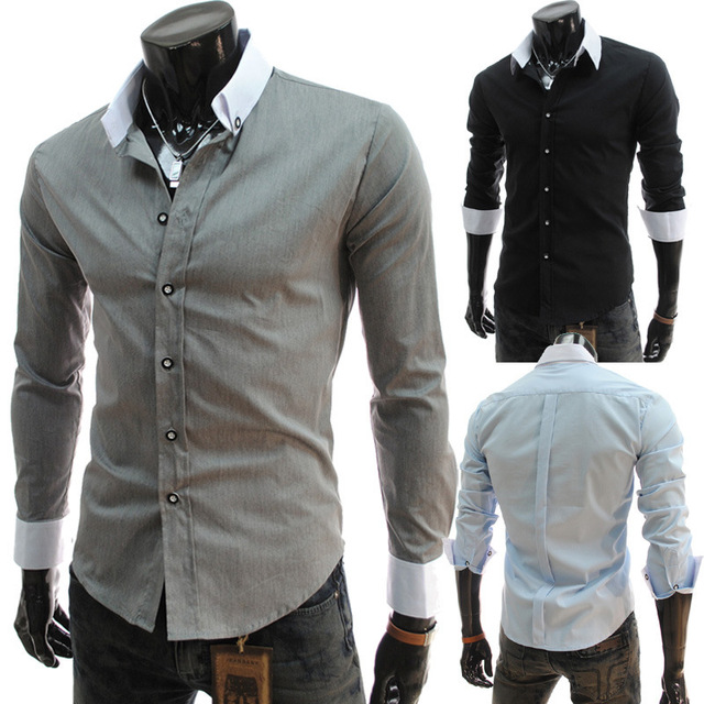 2015 new spring men's fashion color collar slim Mens Long Sleeve Shirt 5022