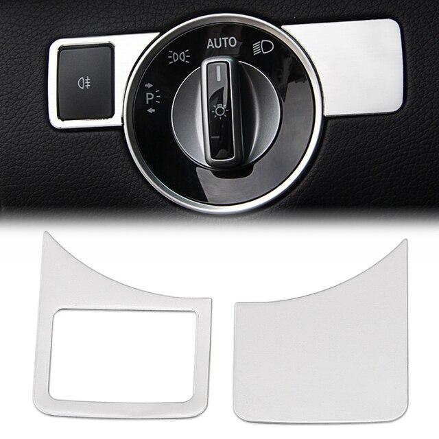 Intérieur en acier inoxydable Tête lumière lampe interrupteur bouton cadre Pour Mercedes Benz un W176 B W246 C W204 E W212 GLA GLK X204 GL ML