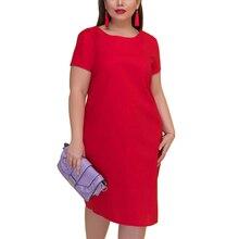 e746f06c90f 2019 été femme grande taille Midi bureau dames robe 5XL 6XL grande taille  porter au travail élégant bref o-cou Chic Vintage Vest.