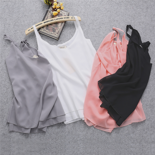 2017 New Summer Sleeveless Shirt Sexy V-neck Camis Loose Casual Chiffon Tank Tops S-4XL Vest Ladies Clothing 1