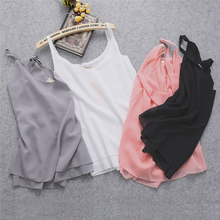2017 New Summer Sleeveless Shirt Sexy V-neck Camis Loose Casual Chiffon Tank Tops S-4XL Vest Ladies Clothing