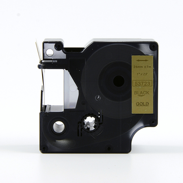 FREE SHIPPING 3PK/lot DYMO D1 label tape black on gold 24mm 53723 Compatible for DYMO label printer