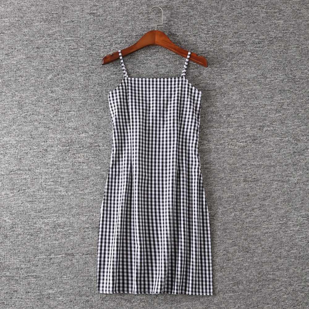 2358e7fde32 ... Women Black and White Plaid Spaghetti Strap Dress Gingham Print Cami  Dress ...