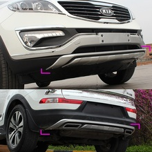 Full set 2pcs plastic front and rear bumper cover protector guard skid plate for Kia Sportage 2010 2011 2012 2013 2014 year