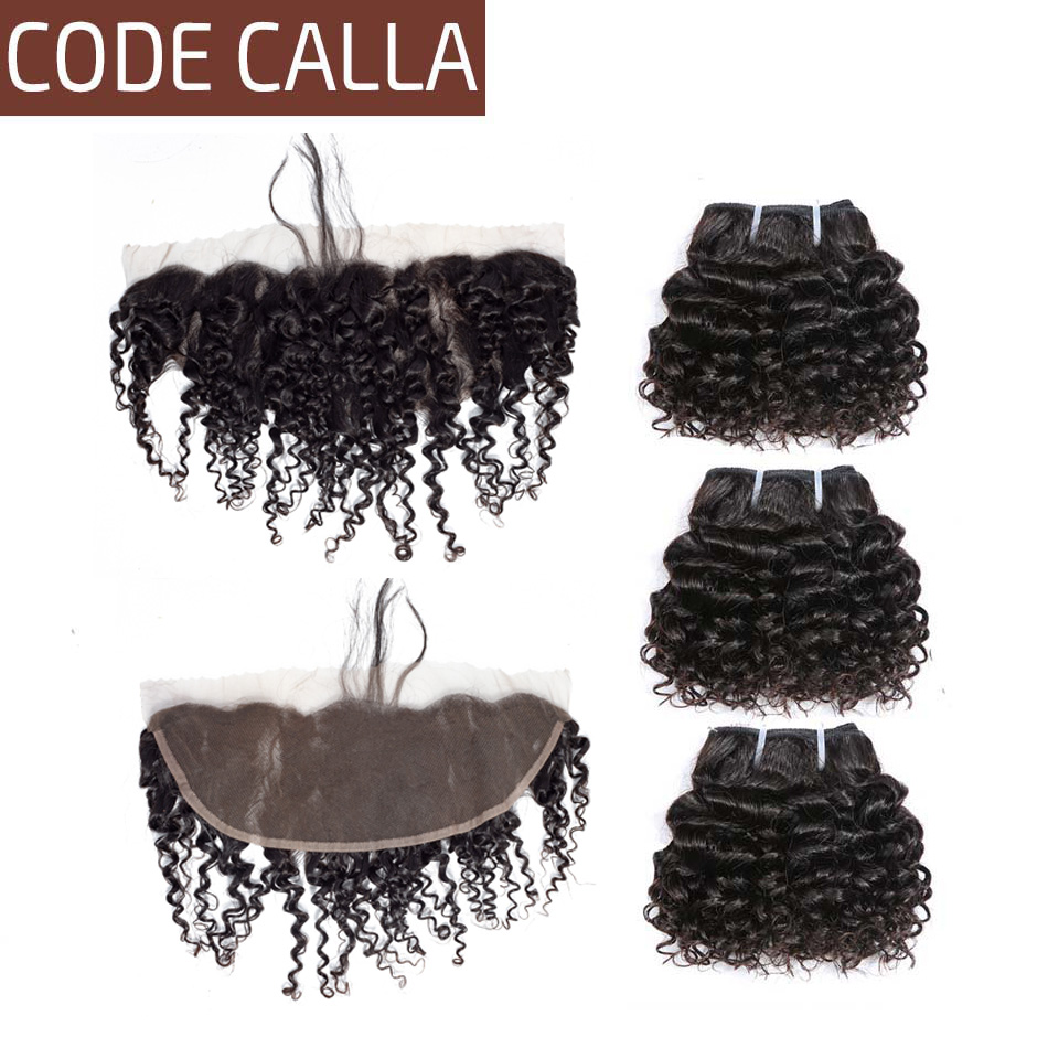 Code Calla Kinky Curly Brazilian Remy Salon Human Hair Extensions Bundles With 13X4 Frontal Lace Closure