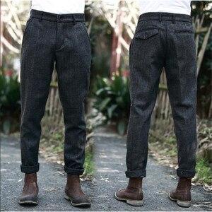 Image 1 - Мужские Винтажные брюки в британском стиле, клетчатые шерстяные брюки, облегающие плотные теплые шерстяные повседневные брюки, A5096