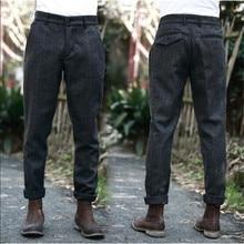 Estilo britânico do vintage dos homens xadrez lã mistura calças outono inverno fino ajuste grosso quente lã casual calças terno masculino a5096