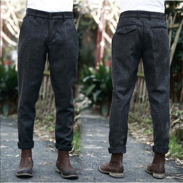 Vintage Britsh Style Mens Plaid Wool Blends Pants Autumn Winter Slim Fit Thick Warm Woolen Casual Trousers Suit Pants Men A5096