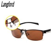 Clip polarizado gafas hombres marco óptico gafas medio marco de la lente de gafas monturas de gafas diseños de negocios miopía 6026