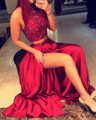 2016 Изысканный Бисероплетение Топ Длинные Темно-Красный 2 Шт. Высокого шеи пром платья Homecoming Платье Коктейльные Платья