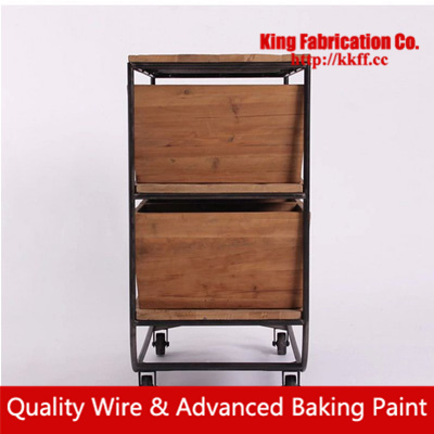 Vintage Furniture Style Solid Wood Dining Side Cabinets Wrought Iron Table Drawers