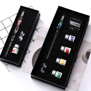 Image 3 - גביש זכוכית לטבול עט חתימת עט נובע עטים Bussiness משרדים כתיבה ספר מתנת סט עט + דיו סט