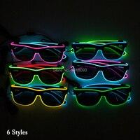 20 шт. модные светящиеся Очки темные линзы EL Провода Солнцезащитные очки для женщин со звуком активации драйвера для Праздничное освещение у