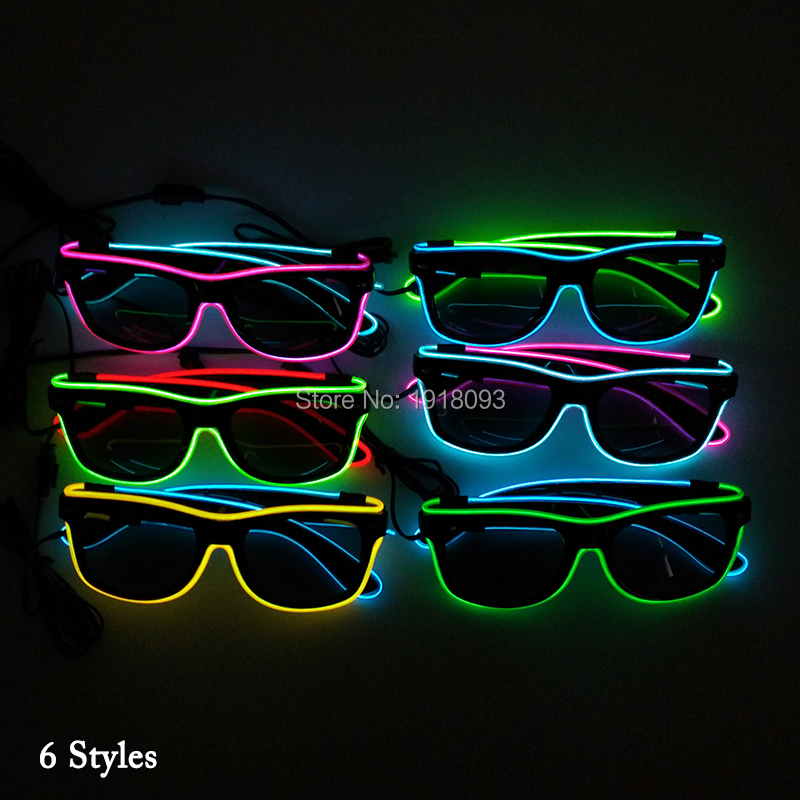 20 Pieces Fashion Cool Glowing Glasses Dark lens EL Wire Sunglasses with Sound activated Driver for Holiday Lighting Decoration cool round lens butterfly mirror sunglasses