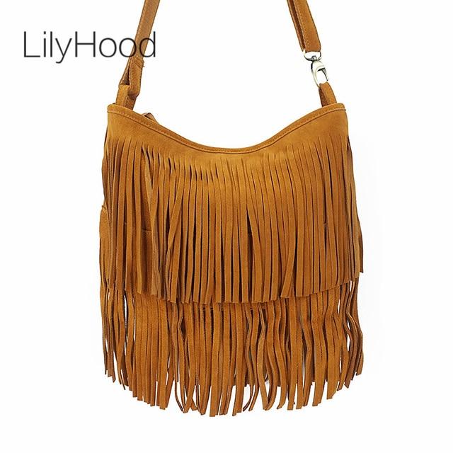 LilyHood 2018 Women Genuine Leather Crossbody Bag Brown Boho Hippie Gypsy  Bohemian Rock Music Long Fringe Feminine Shoulder Bag 8441aa4cf08b1