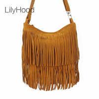 LilyHood 2018 Women Genuine Leather Crossbody Bag Brown Boho Hippie Gypsy Bohemian Rock Music Long Fringe Feminine Shoulder Bag