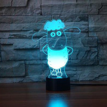 купить 7 Color Changing 3D Visual NightLight Acrylic Cute Sheep Modelling Table Lamp Led Cartoon Lighting Fixture Kids Gifts Home Decor дешево