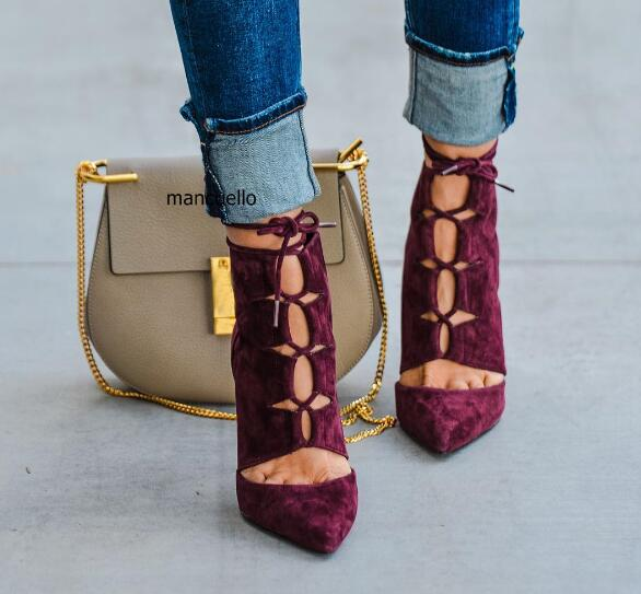 Awesome Burgundy Suede Hollow-out Pumps Kvinnor Sexig Pekad Toe Snör - Damskor