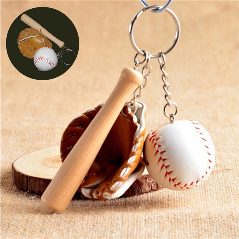 1 Pcs Baseball Glove Wooden Bat Keychain Sports Car Key Chain Key Ring Gift For Man image