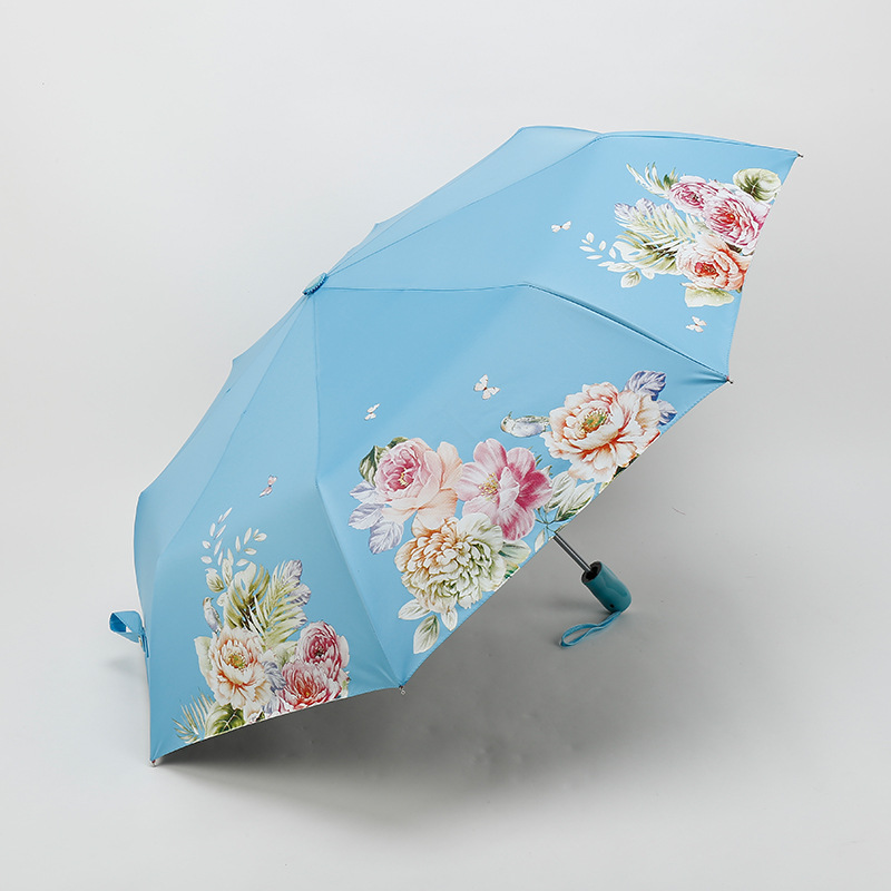 Automatic Folding Flower Butterfly Umbrella Rain Women Three Customized Female Lady Outdoor Windproof Parasol
