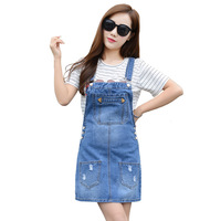 2017 Summer New Arrival Ladies Sweet Denim Suspender Skirts Fashion Trend Ripped Mini Jeans Braces Skirt
