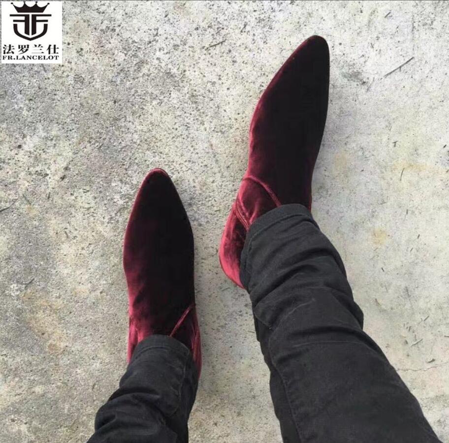 2019 FR. LANCELOT inverno tornozelo botas de couro de vaca dos homens de alta qualidade martin botas estilo britânico botas curtas moda botas de marca nova