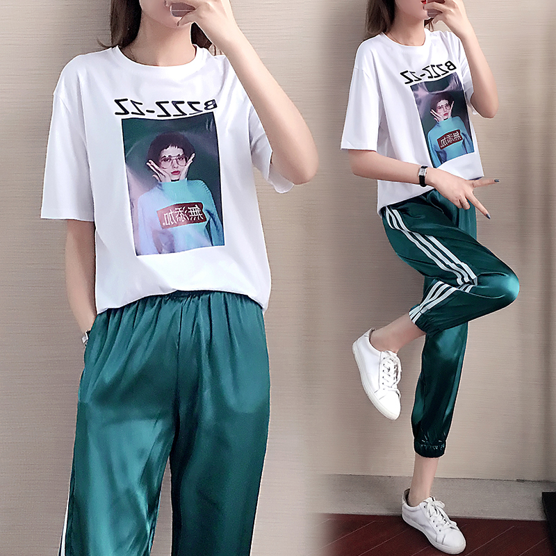 Make The New Summer Wide-legged Pants Suits Female Fashion Loose Short Sleeve Clothes Leisure Two-piece Outfit
