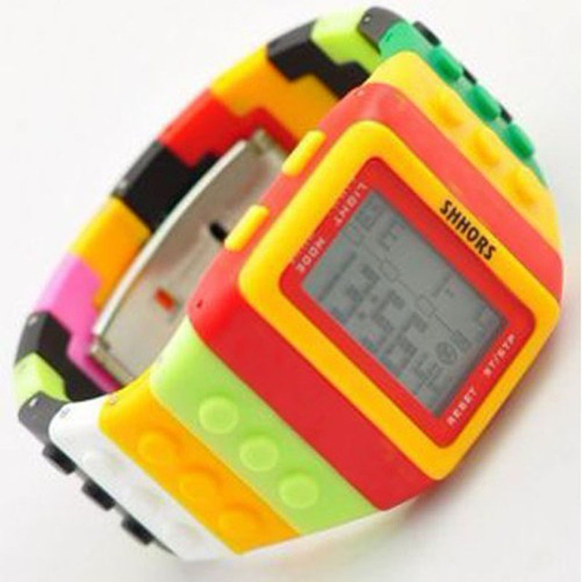 2013 Shhors watch Rainbow Classic Unisex fashion watches Coloful stripe Cheap Digital LED Light Drop shipping