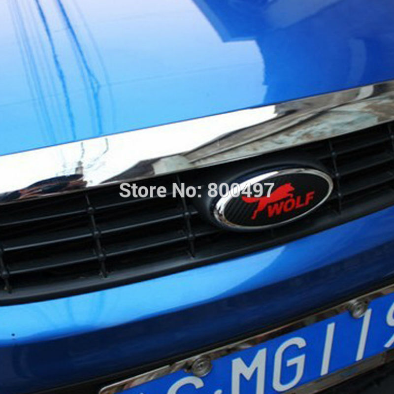 Image 2 - 2 x New Design Car Styling Car Logo Cover Sticker Carbon Fiber Vinyl Decal Wolf Emblem for Ford Focus MK 1 Focus MK 2-in Car Stickers from Automobiles & Motorcycles