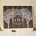 Nombre personalizado fecha boda árbol libro de invitados de madera enmarcado amor firma libro de asistencia invitados firmas Deco boda Casamento