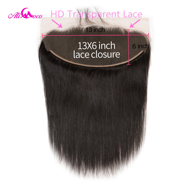 Ali Coco Straight HD Transparent Lace Frontal 13X6 Ear To Ear Lace Frontal Closure 8-24 Inch Natural Color 100% Remy Human Hair