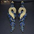 Роскошные Создания Sapphire Blue Crystal Свадебные Украшения Событие Висячие Кубического Циркония Длинные Позолоченные Серьги CZ375
