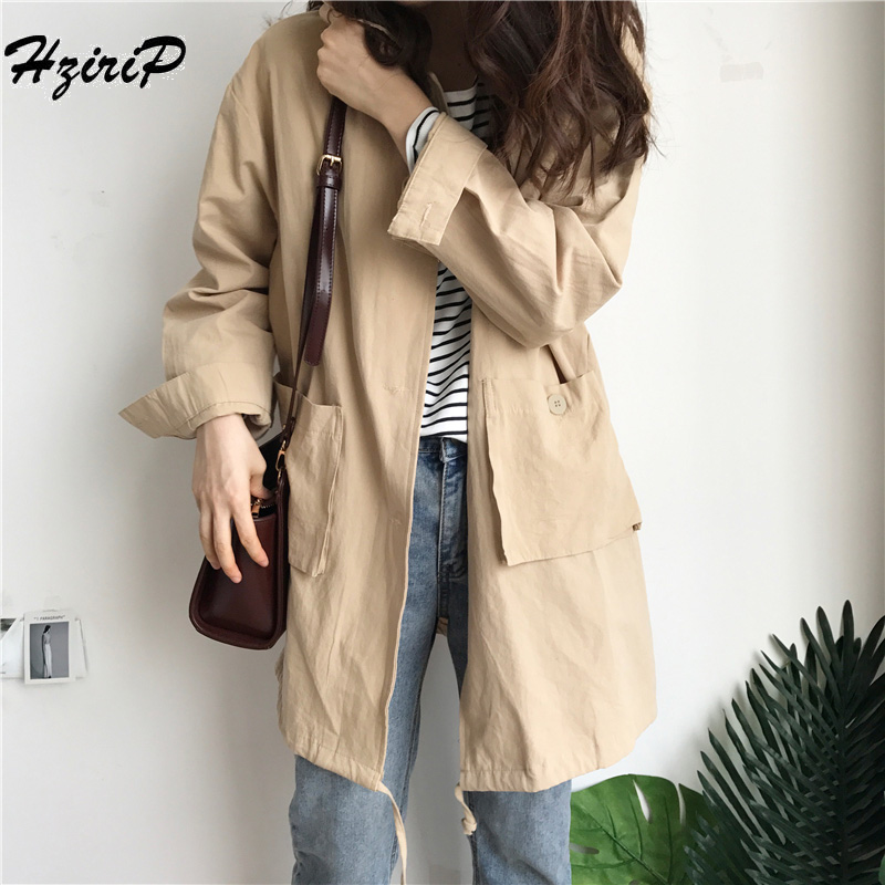 HziriP 2018 New Design Autumn Windproof   Basic     Jackets   for Female Outerwear Long Sleeves Women Single Breasted Preppy Style Coats