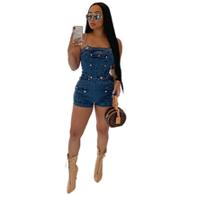 Adogirl Chain Spaghetti Straps Jeans Playsuit Women Sexy Strapless Vintage Denim Jumpsuits Casual Shorts Romper Fashion Bodysuit