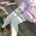 Harajuku Bonito Branco/Preto Calças Justas Emoção Ícone Cosplay Expressão Meias Meias