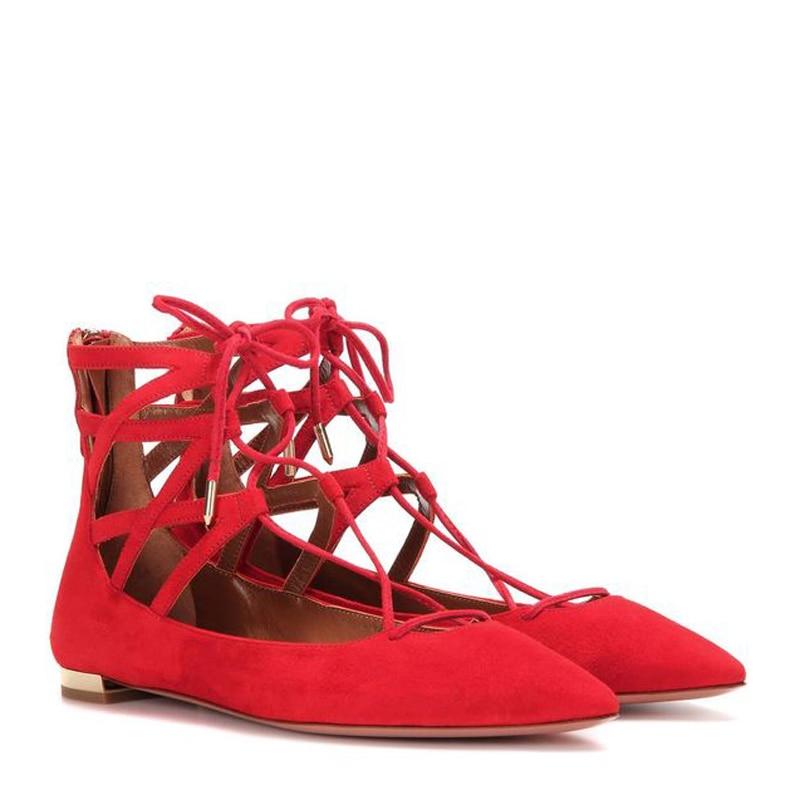 up Casual Point Chaude En Style Vente Cage As Shown Appartements Chaussures Ballet Mode Design Femmes Celebrity Chic Shown Lace Cravate Toe as Riri De Daim wAqTf6H