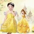 Hot New 2016 Fantasia Vestidos Crianças Meninas custom made a bela ea fera cosplay carnaval costume crianças belle vestido de princesa