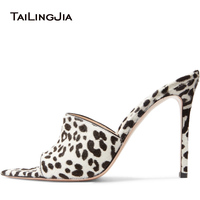 Women Mules Leopard PVC Transparent Shoes Thin High Heels Sexy Pointed Toes Woman Lady Dress Shoes Evening Party Sandals 2018