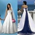 Blanco Y Azul de Raso Vestidos de Novia Una Línea Royal Vendaje Mujeres Bordado Vintage Beach vestido de Novia Vestidos de Boda Elegantes