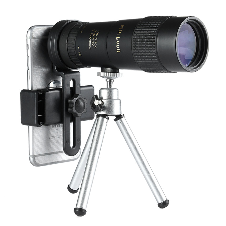 Maifeng 8-40x40 Monocular Telescope Compact Retractable Zoom Waterproof Bak4 Professional HD ED Glass With Tripod Phone Clip